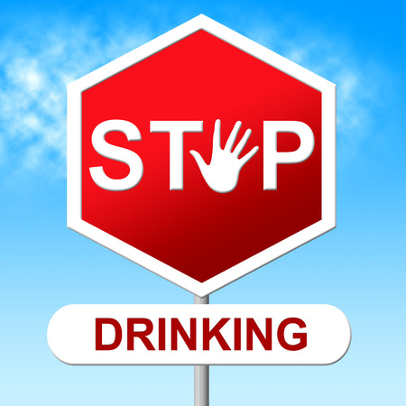 intoxicating: Stop Drinking Showing The Hard Stuff And Drunk Stock Photo