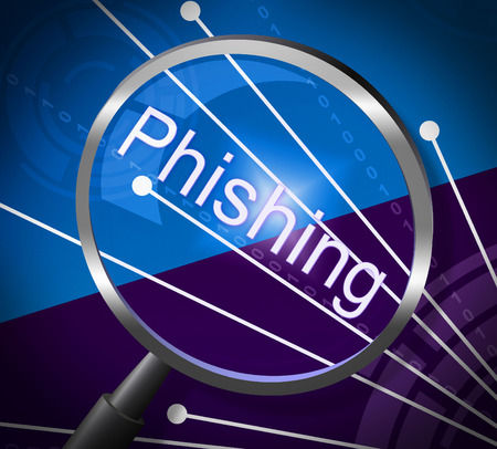 scamming: Phishing Fraud Indicating Rip Off And Magnification Stock Photo