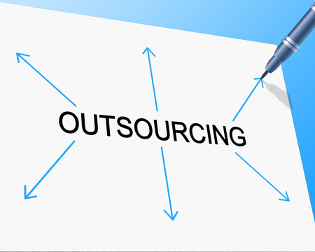 independent contractor: Outsourcing Outsource Showing Independent Contractor And Subcontracting Stock Photo