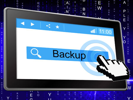 data archiving: Online Backup Showing World Wide Web And Website Stock Photo