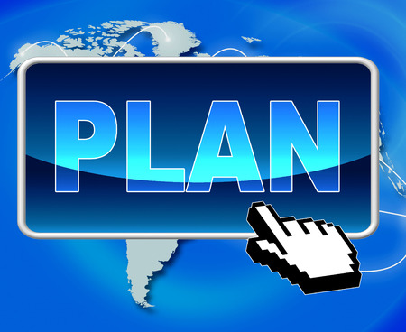 action plan: Plan Button Indicating World Wide Web And Website Stock Photo