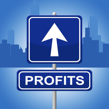 lucrative: Profits Sign Representing Direction Income And Advertisement