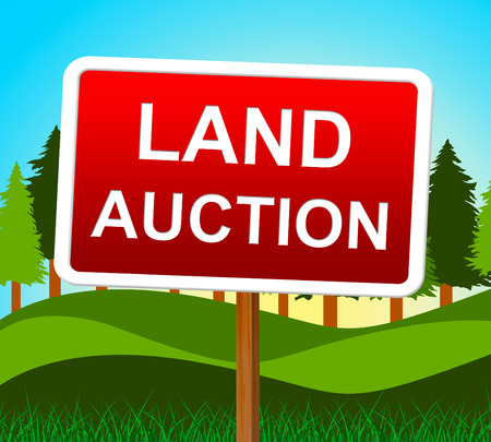 winning bid: Land Auction Representing Winning Bid And Bids Stock Photo