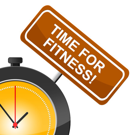 get a workout: Time For Fitness Representing Exercising Training And Gym Stock Photo
