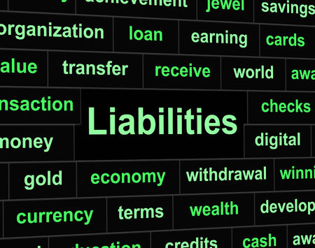 obligaciones: Pasivos Owe Representando Obligaci�n Financiera y de los atrasos Foto de archivo