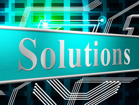 resolve: Solution Sign Indicating Resolve Goal And Display Stock Photo