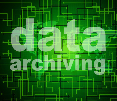 archiving: Data Archiving Indicating Bytes Archives And Fact Stock Photo