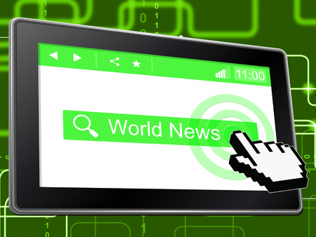 world news: World News Indicating Headlines Searching And Website Stock Photo