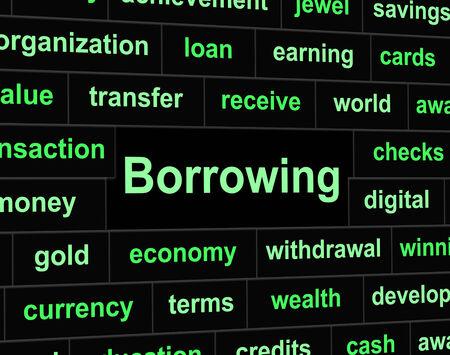 tomar prestado: Endeudamiento Deuda Significado Obligaci�n financieros y pasivos Foto de archivo