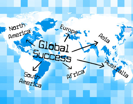 triumphant: Global Success Representing Worldwide Triumphant And Victors Stock Photo