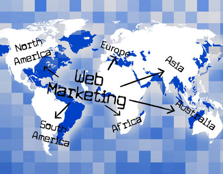 web marketing: Web Marketing Showing Network Internet And Sales Stock Photo