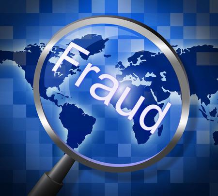 Fraude Magnifier Vertegenwoordigen Rip Off En Vergroting Stockfoto