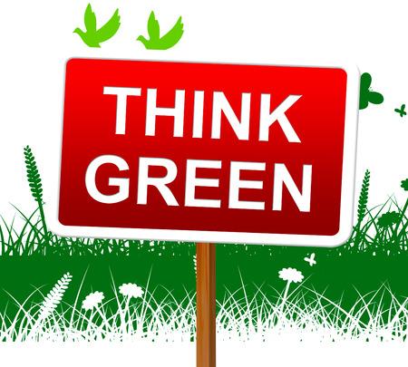 think green: Piensa Verde Representando D�a de la Tierra y el medio ambiente Foto de archivo