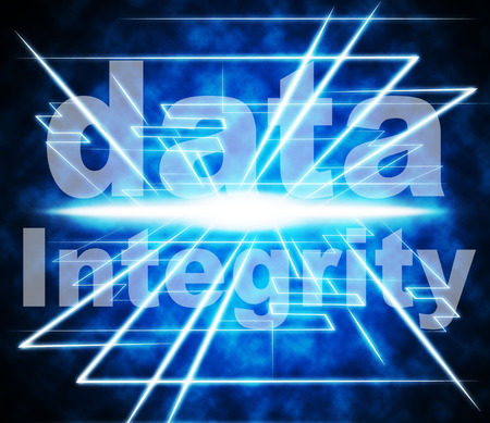 uprightness: Data Integrity Indicating Honesty Uprightness And Trust Stock Photo