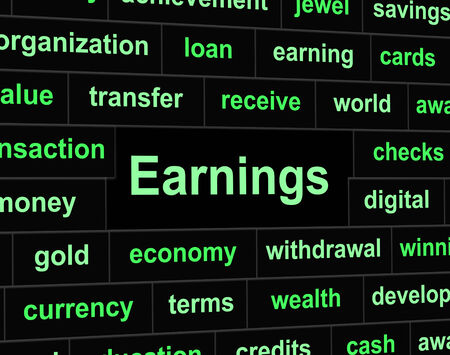 earns: Revenue Earnings Indicating Wage Salaries And Incomes Stock Photo