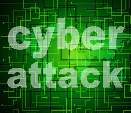 illegal act: Cyber Attack Showing World Wide Web And Illegal Act Stock Photo