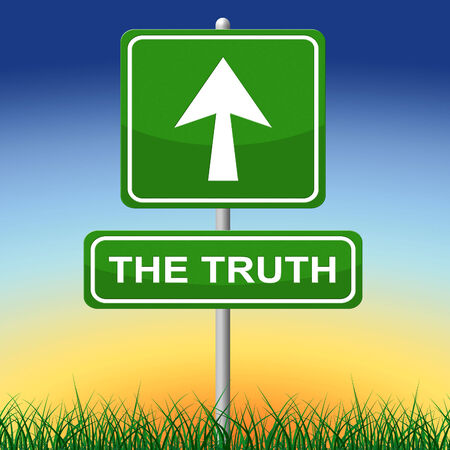verifiable: Truth Sign Indicating No Lie And Pointing Stock Photo