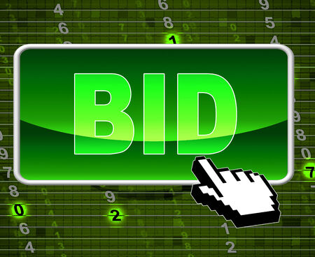 auction win: Bid Button Showing World Wide Web And Internet Auction Stock Photo
