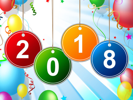 eighteen: New Year Meaning Two Thousand Eighteen And Celebrate