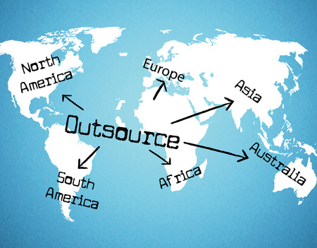 outsource: Outsource Worldwide Meaning Independent Contractor And Globalisation Stock Photo
