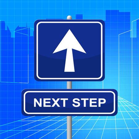 the next step: Next Step Mostrando Future Insegna e firmare Archivio Fotografico