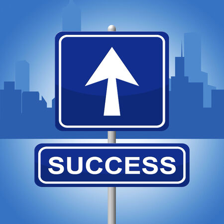 prevail: Success Sign Indicating Successful Winner And Victory