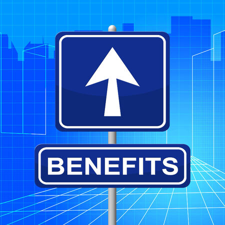 perks: Benefits Sign Indicating Rewards Direction And Compensation