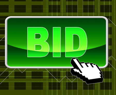 auction win: Bid Button Indicating World Wide Web And Website Stock Photo