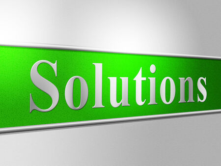 resolve: Solutions Sign Representing Signboard Achievement And Resolve Stock Photo