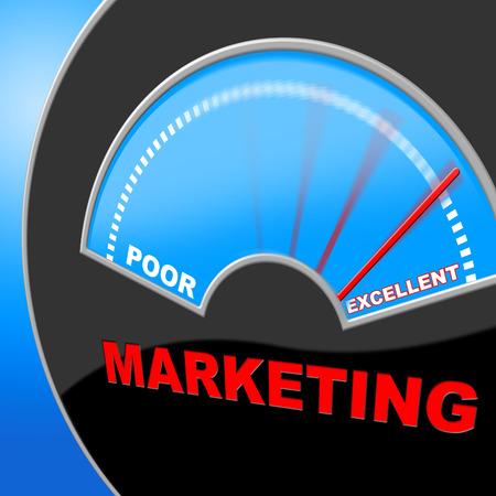 uitstekend: Uitstekende Marketing Betekenis Fantastic Promotie en de superioriteit Stockfoto