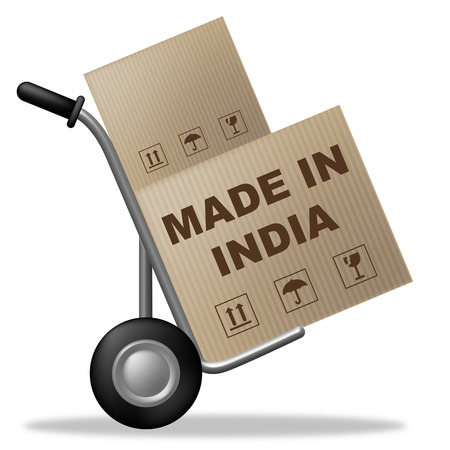 Made In India Representing Shipping Box And Indian photo