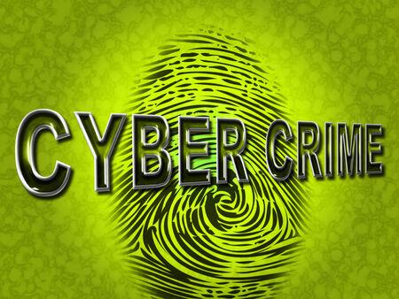 Cyber Crime Representing Threat Vulnerable And Fingerprint photo