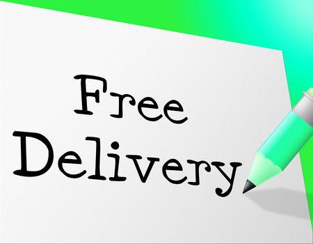 compliments: Free Delivery Indicating With Our Compliments And Freebie Stock Photo