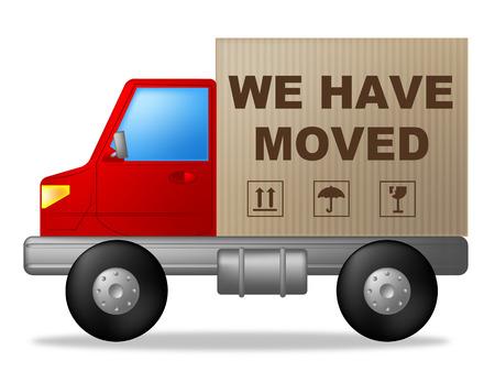 Hemos pasado Mostrando cambio de domicilio y Compre Nuevo Inicio Foto de archivo - 32808583