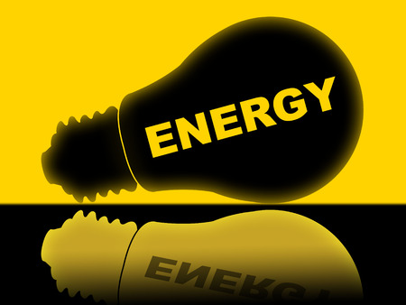 energize: Energy Lightbulb Representing Power Source And Energize