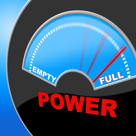 energize: Full Power Representing Dial Display And Electricity Stock Photo