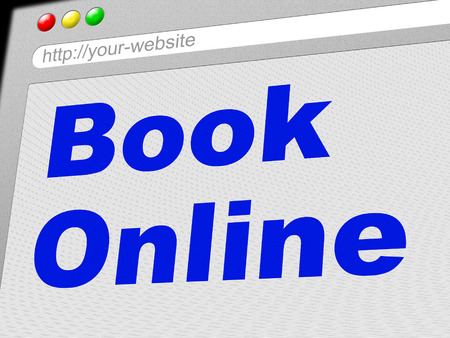 booked: Book Online Showing World Wide Web And Website Stock Photo