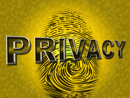 confidentially: Privacy Fingerprint Showing Encrypt Security And Secret Stock Photo