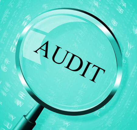 magnification: Audit Magnifier Indicating Inspection Magnification And Analysis Stock Photo