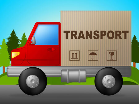 transporting: Transport Truck Indicating Transporting Moving And Deliver Stock Photo