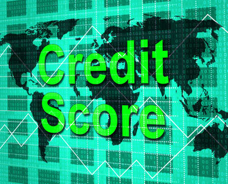 Credit Score Showing Debit Card And Paying Stock Photo