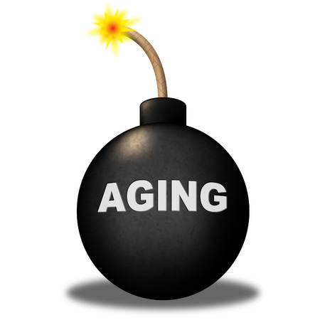 decrepitude: Aging Bomb Representing Golden Years And Alert