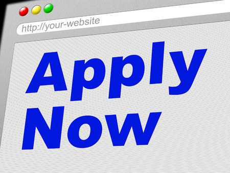presently: Apply Now Showing At This Time And Now Stock Photo
