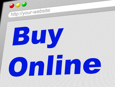 buy online: Buy Online Representing World Wide Web And Website Stock Photo