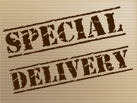 noteworthy: Special Delivery Showing Postage Parcel And Exceptional Stock Photo