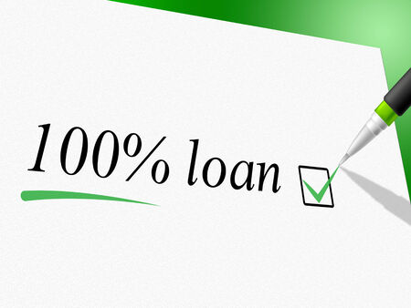 loaning: Hundred Percent Loan Indicating Lend Lends And Loans Stock Photo