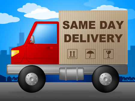 distributing: Same Day Delivery Indicating Distributing Logistics And Shipping