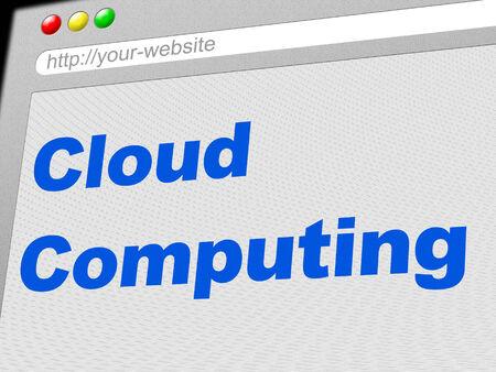 tecnologia informacion: Cloud Computing En representaci�n de tecnolog�a de la informaci�n y el ciberespacio Foto de archivo