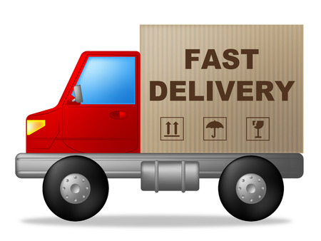 quickly: Fast Delivery Representing High Speed And Quickly