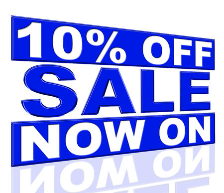 presently: Ten Percent Off Showing At The Moment And Promo Stock Photo